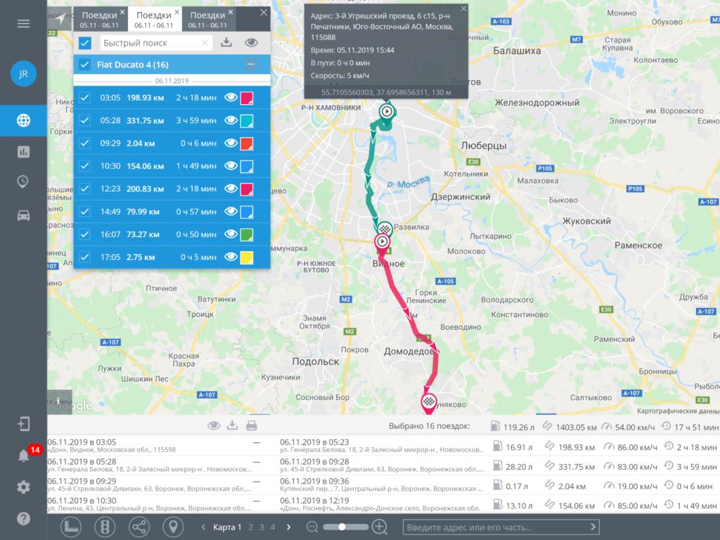 Контроль поездок и пробега по GPS